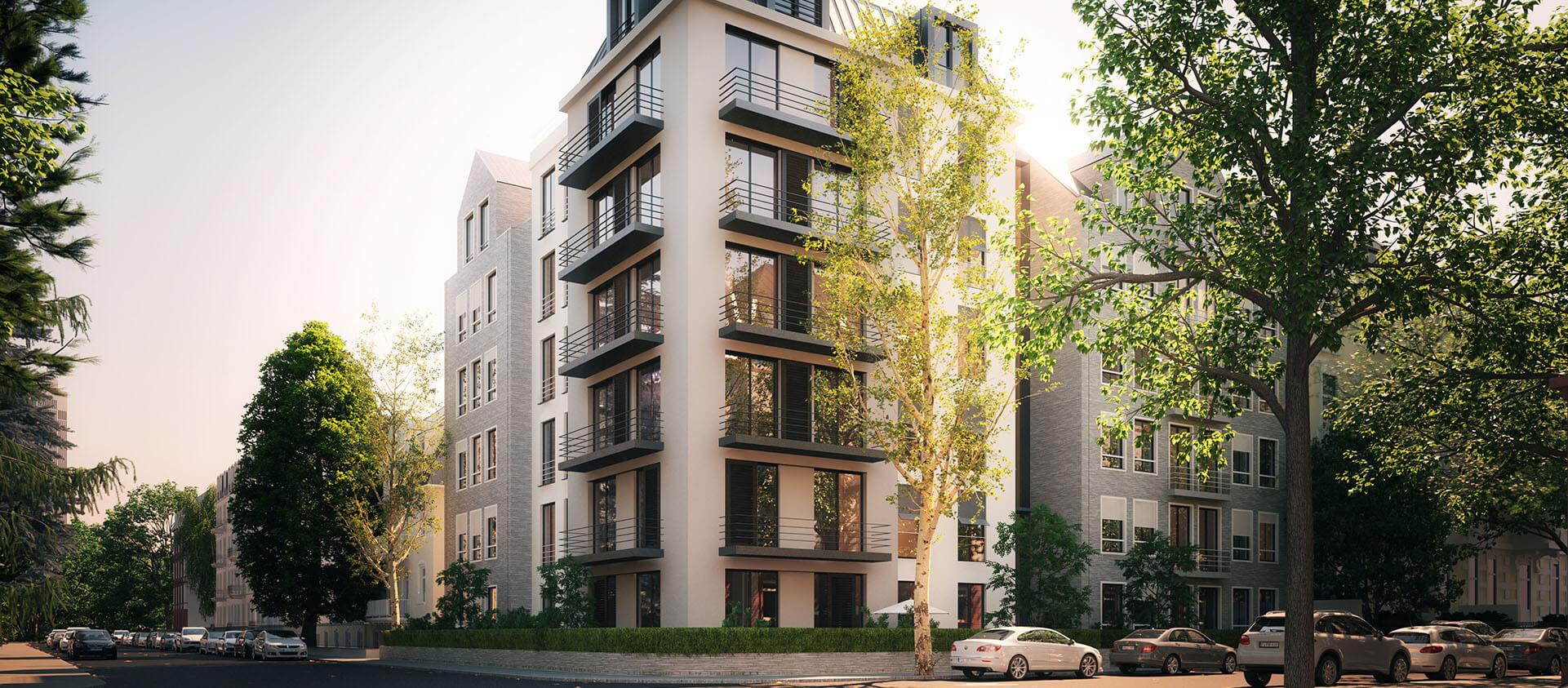 Ansicht von Kreuzung auf Wohnhaus - Architektur Eberhard Horn Designgruppe