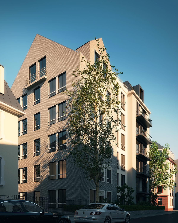 Projektentwicklung Wohnkomplex Eberhard Horn Designgruppe - Blick auf Wohnhaus