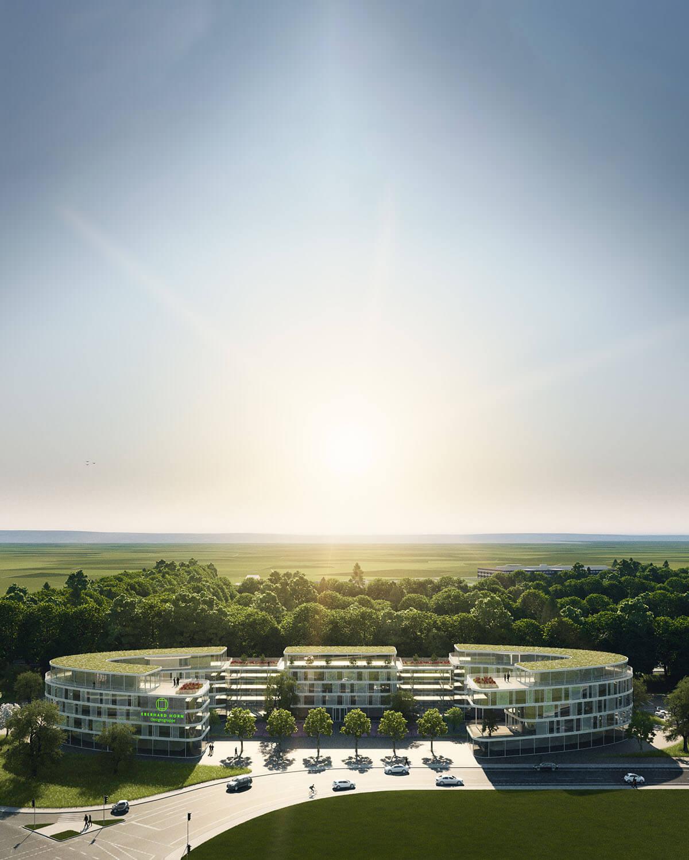 Projektentwicklung Bad Homburg Eberhard Horn Designgruppe, Blick auf Natural Balance Campus