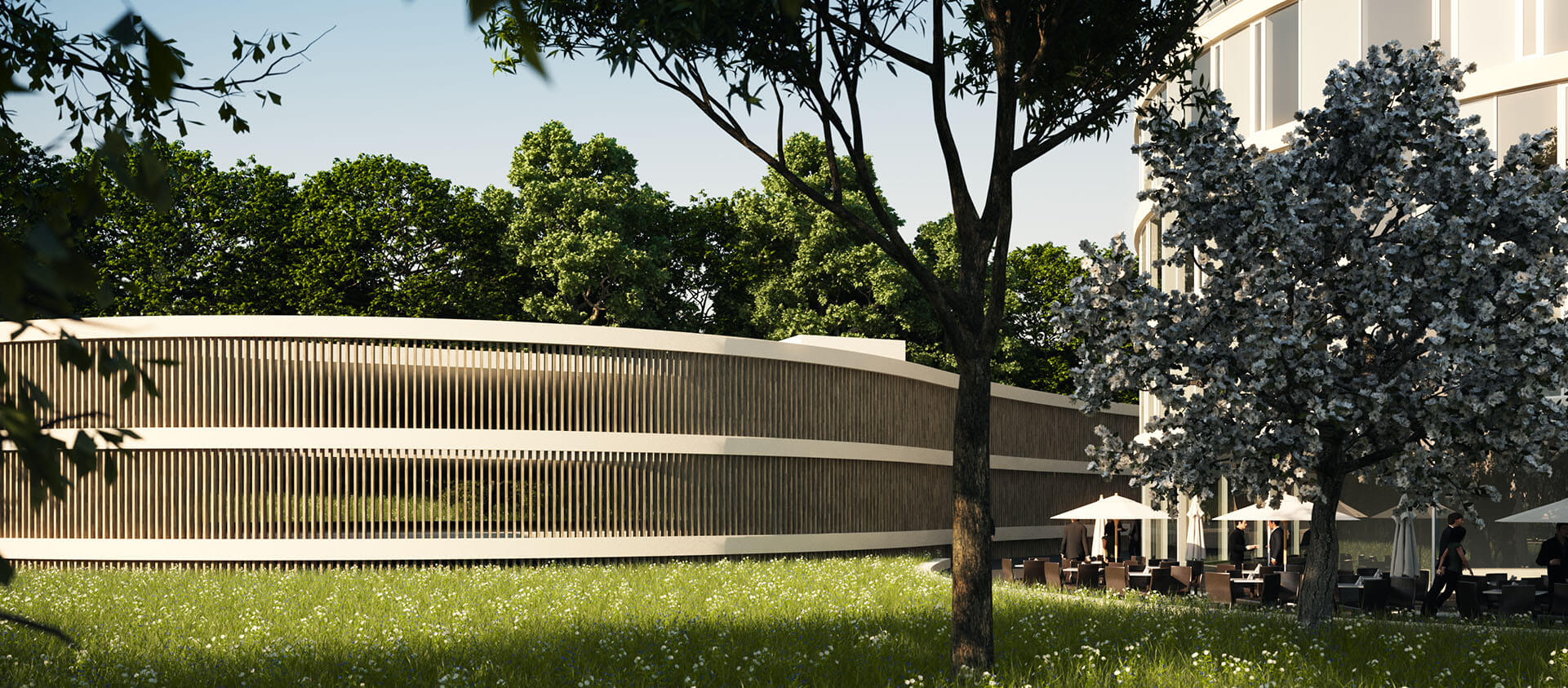 Projektentwicklung Bad Homburg Eberhard Horn Designgruppe, Blick Parkdeck Natural Balance Campus