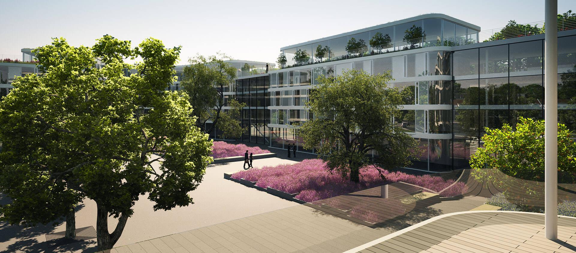 Projektentwicklung Bad Homburg Eberhard Horn Designgruppe, Innenhof Natural Balance Campus