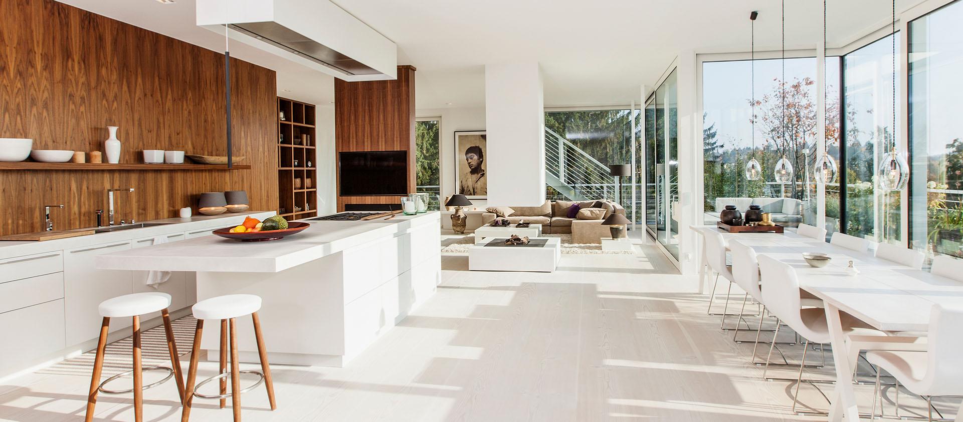 Penthouse offener Wohn-Essbereich lichtdurchflutet, Interieur Design Eberhard Horn Designgruppe Königstein