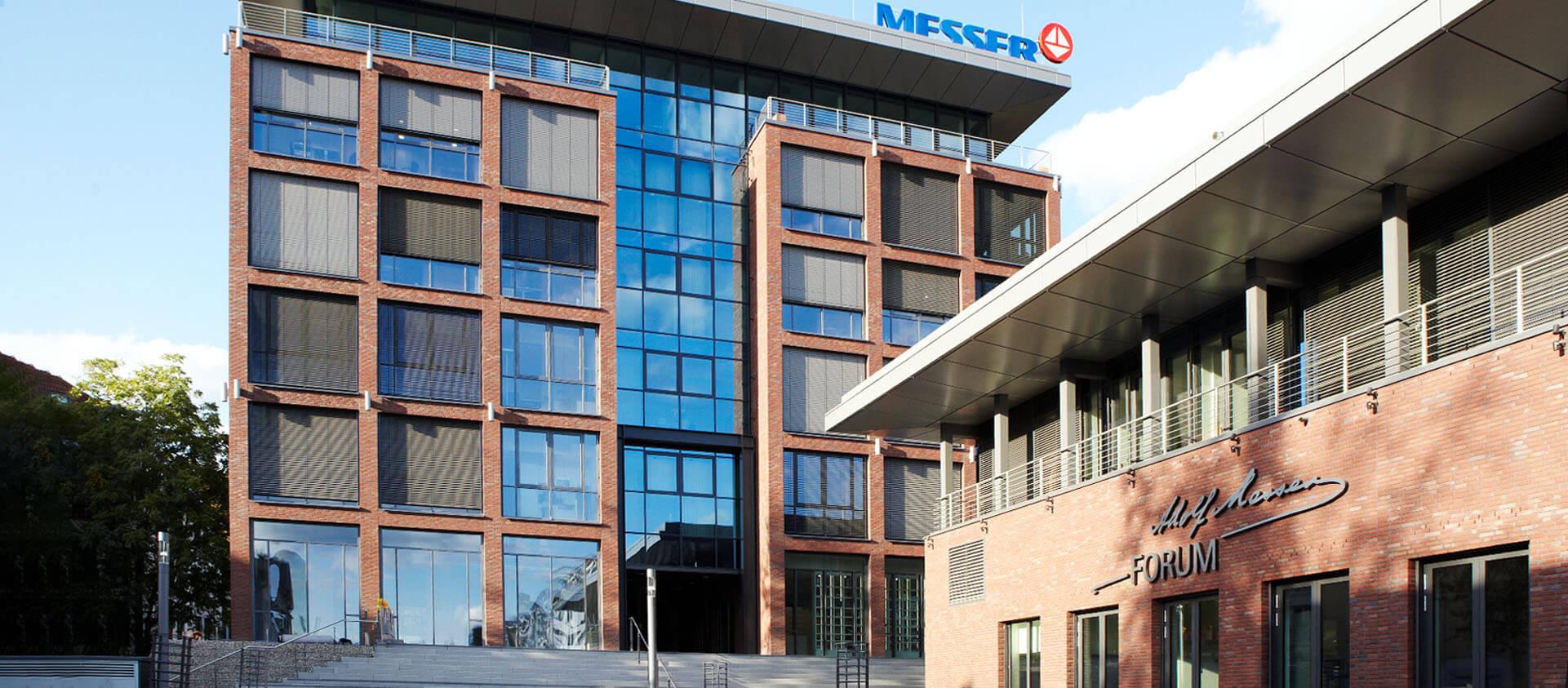 Ansicht Backsteingebäude Messergroup und Eventcenter - Architektur Eberhard Horn Designgruppe