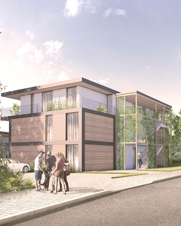 """Sicht von Straße auf Wohnbebauung """"Sonnengarten"""", Rendering, Architektur und Projektplanung Eberhard + Florian Horn GmbH"""